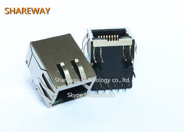China 10 / 100 Basis - magnetisches RJ45 Jack PWB Montage Staplungs-8P8C t-rechtwinklig usine